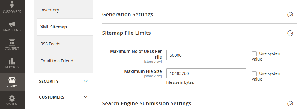 Magento 2 XML Sitemap File Limits