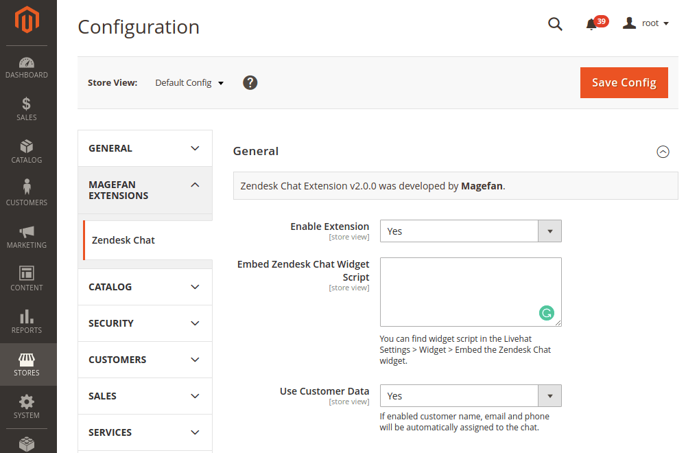 Magento 2 Zendesk Chat General Configuration