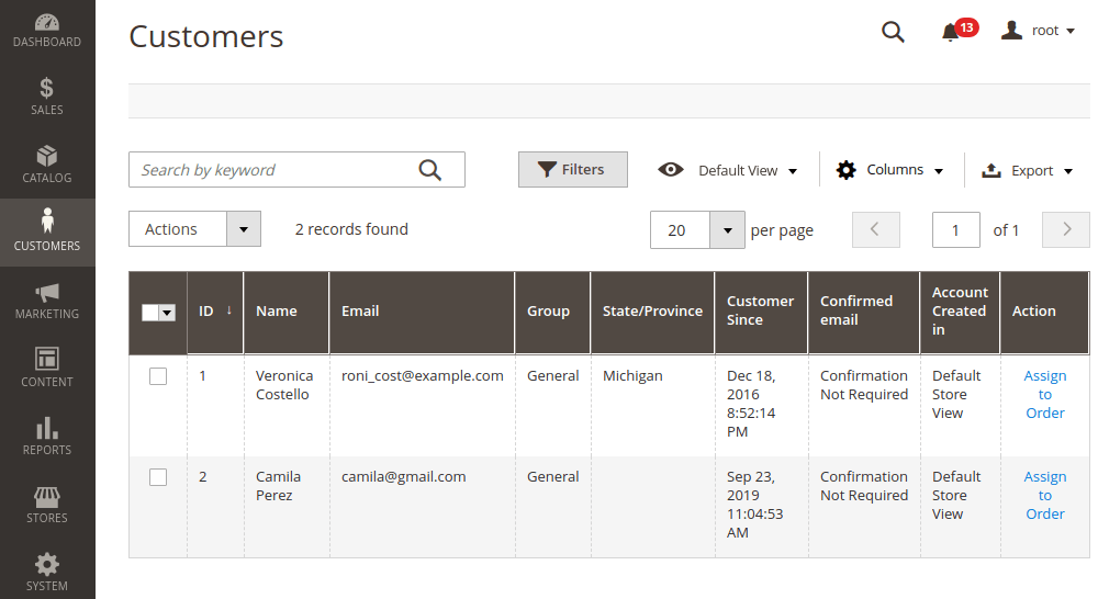 Magento 2 Assign new customer to the order