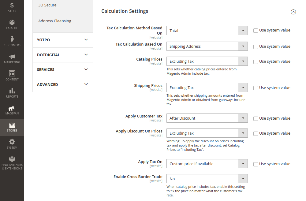 Magento Tax Calculation Settings