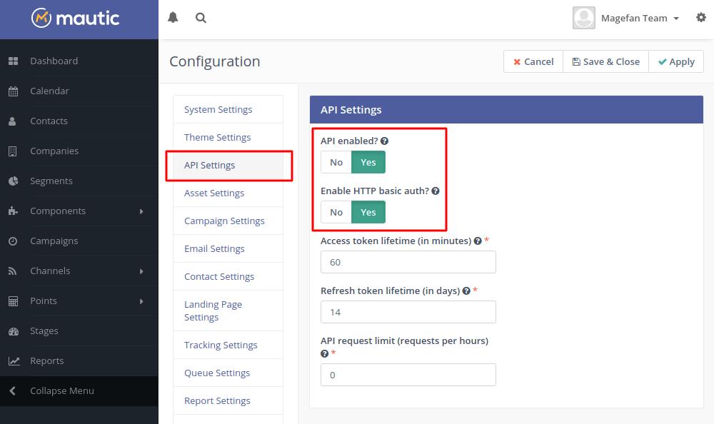 Mautic API settings
