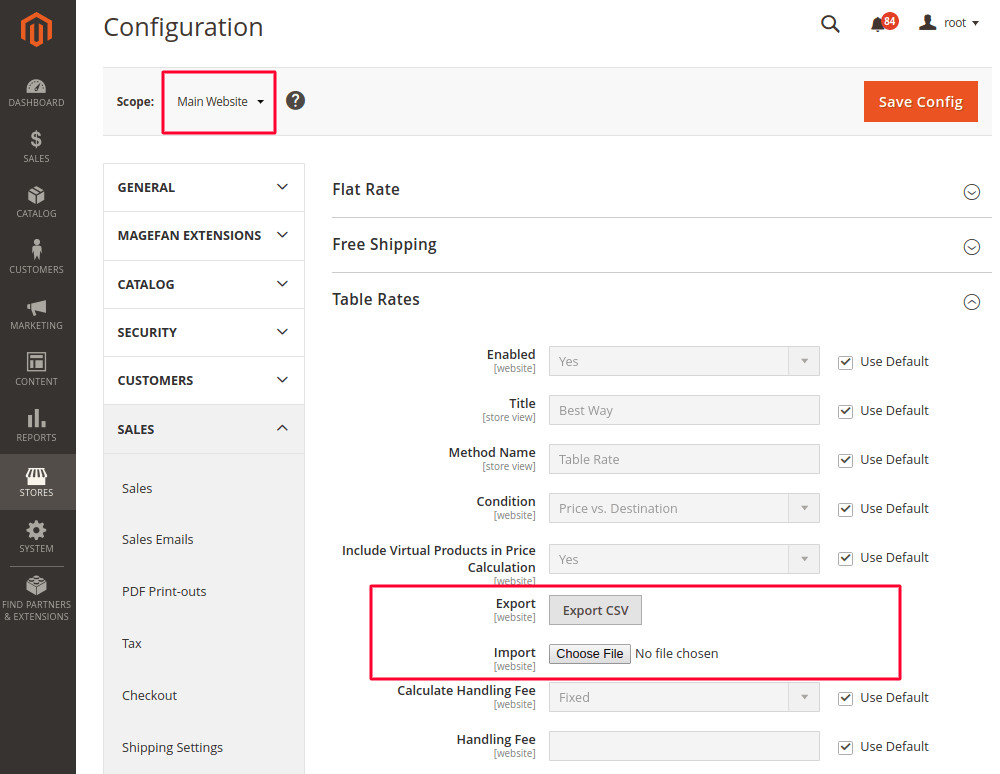 Table Rates Shipping Method in Magento 2