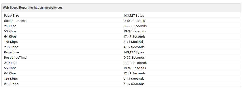 Website Speed Test Report