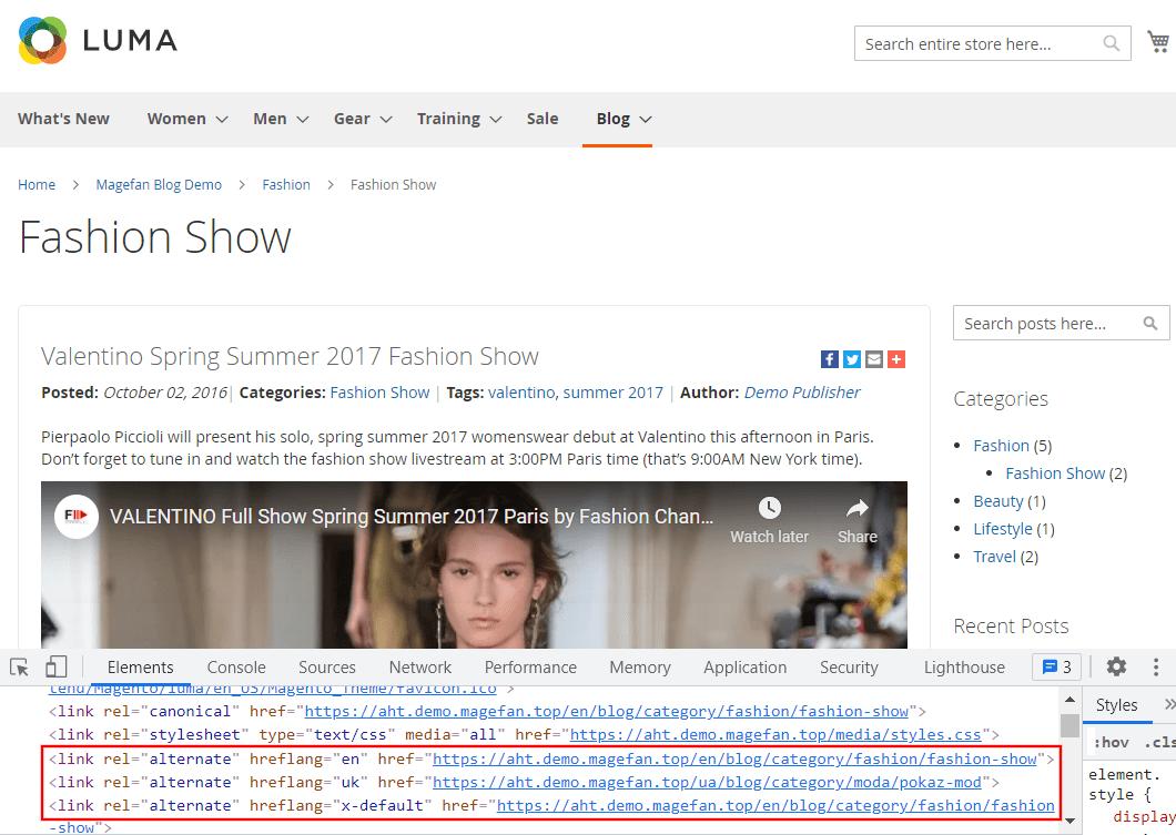 Alt href tags for Magento Blog Category