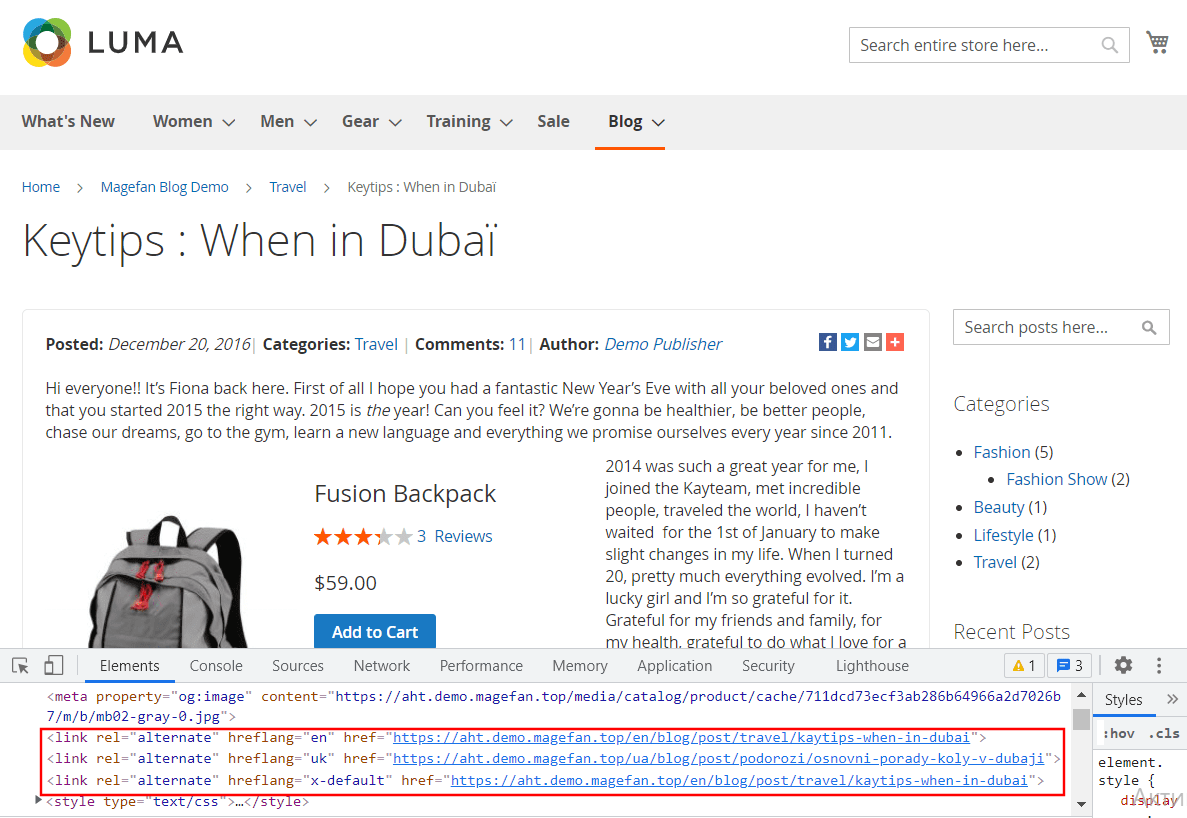 Alternate Href Tags for Blog in Magento 2