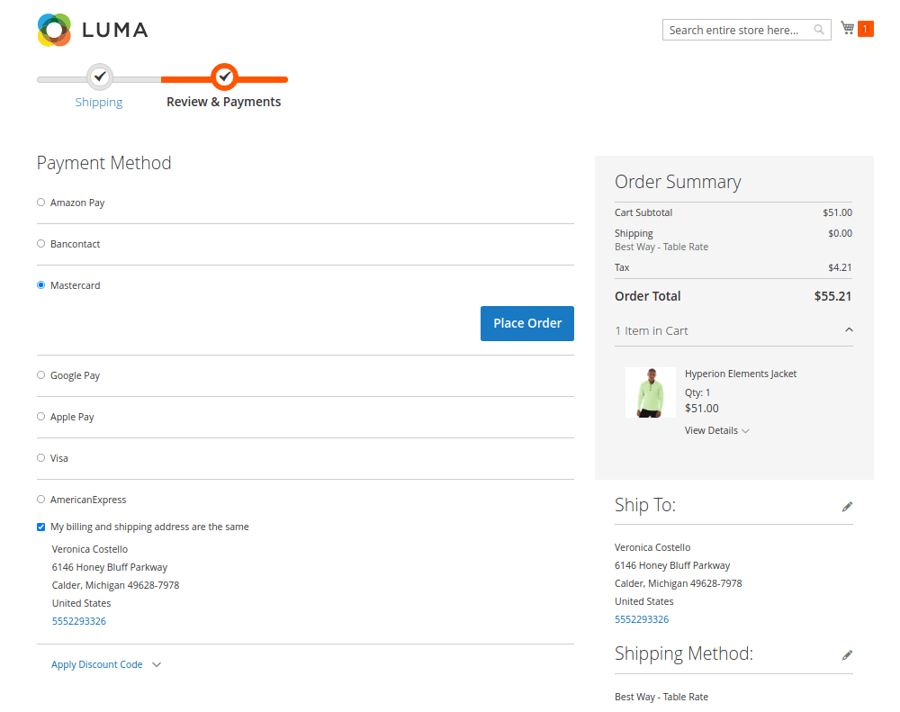 Default Magento Checkout Page