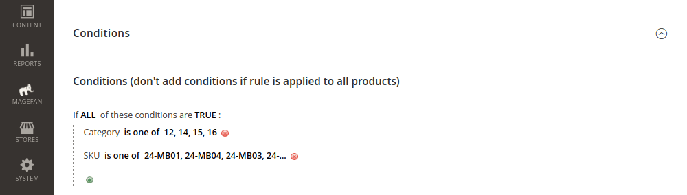 Magento Catalog Price Rule Conditions