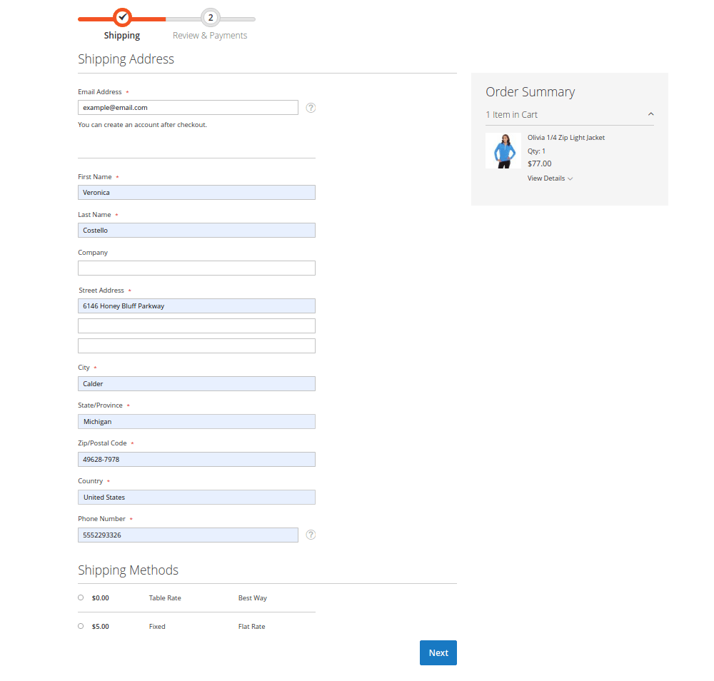 Magento Default Checkout Page