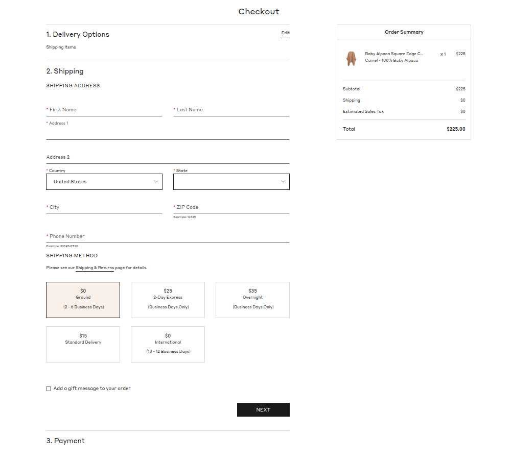 One Step Checkout Example Store