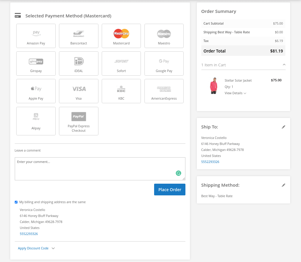 Order Comment on Magento Checkout Page