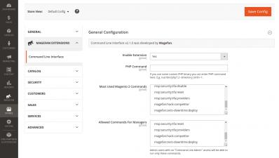 Magento 2 Command Line Extension Configuration