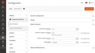 Order Comment On Checkout Page Configuration