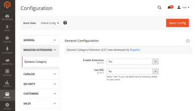 Magento 2 Dynamic Categories Extension Configurations