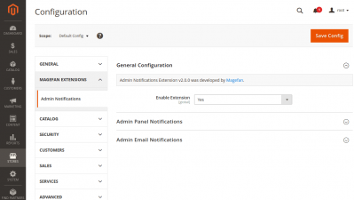 General Magento 2 Admin Email Notification Extension Configuration