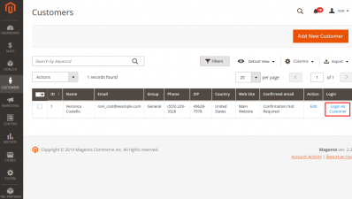 Login as Customer Button in Customers Grid