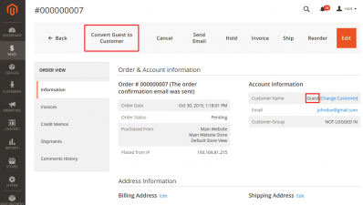Convert Guest to Customer Button on Order Page