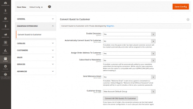 Magento 2 Convert Guest to Customer Extension Configuration