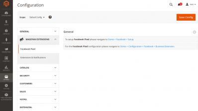 Magento 2 Facebook Pixel Extension General Configuration