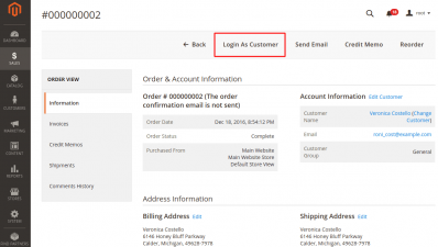 Login as Customer Button on Order Page