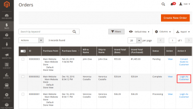 Login as Customer Button in Orders Grid