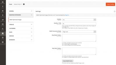 Magento 2 WebP Images Extension Configuration