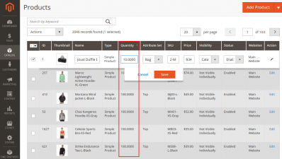 Editing Product Quantity from the Grid in Magento 2