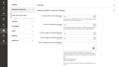 Magento 2 WebP Advanced Settings