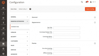 Magento 2 Zendesk Chat Appearance and Forms Configuration
