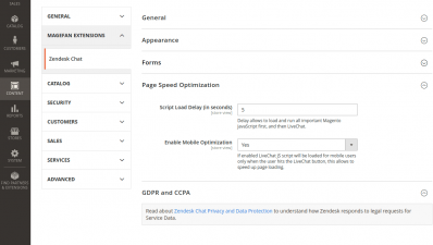 Magento 2 Zendesk Chat Page Speed Optimization, GDPR and CCPA