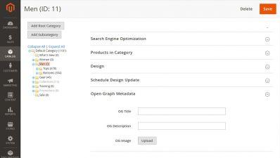 Facebook Open Graph For Catalog Categories / Magento 2 Admin Panel