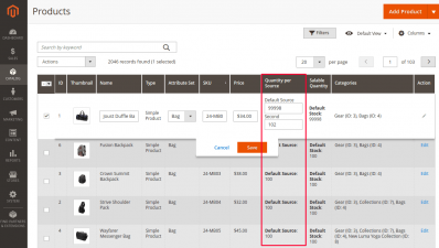 Update Quantity per Source in Product Grid Magento 2