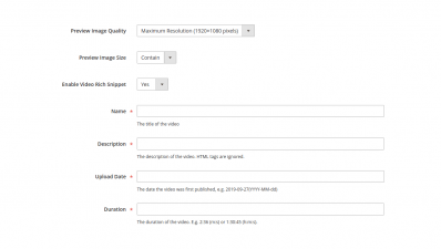 Magento 2 YouTube Video  Image Settings, Rich Snippet