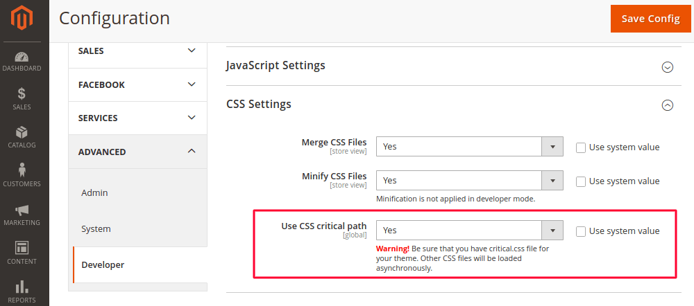 Use Critical CSS in Magento