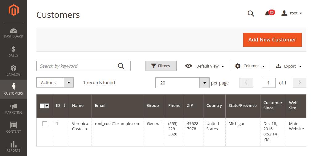 Magento 2 Admin Panel Customer Grid