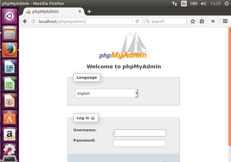 phpMyAdmin Welcome Page