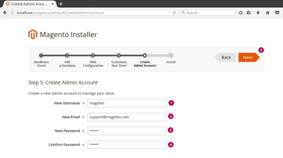 Magewnto Installer Admin Account