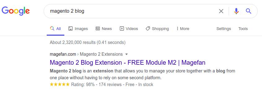 Magento 2 Blog extension in Google SERP
