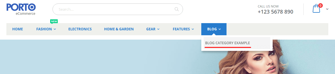 Посилання блогу у мега меню SmartWave Porto
