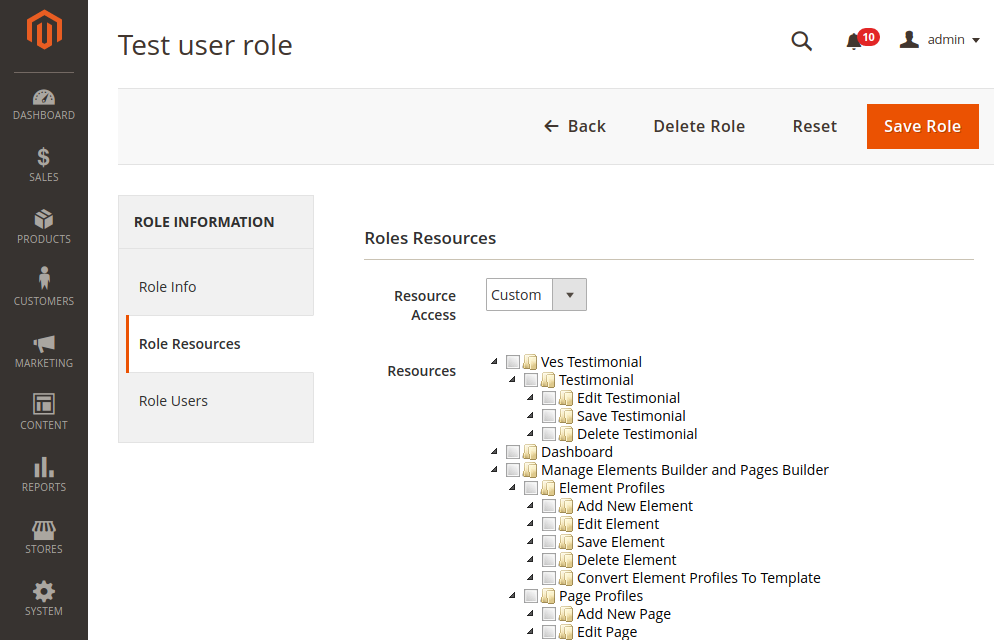 User Role Reasources in Magento 2