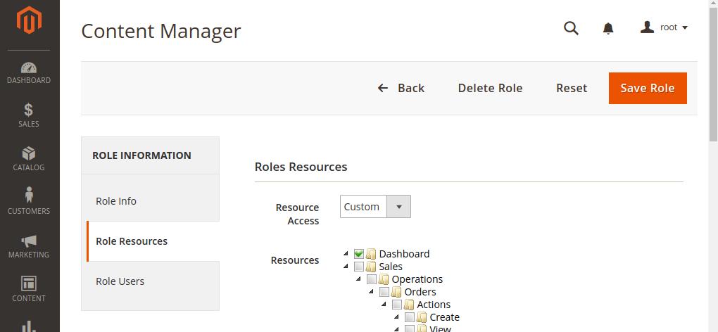 Magento 2 Admin Role Resources