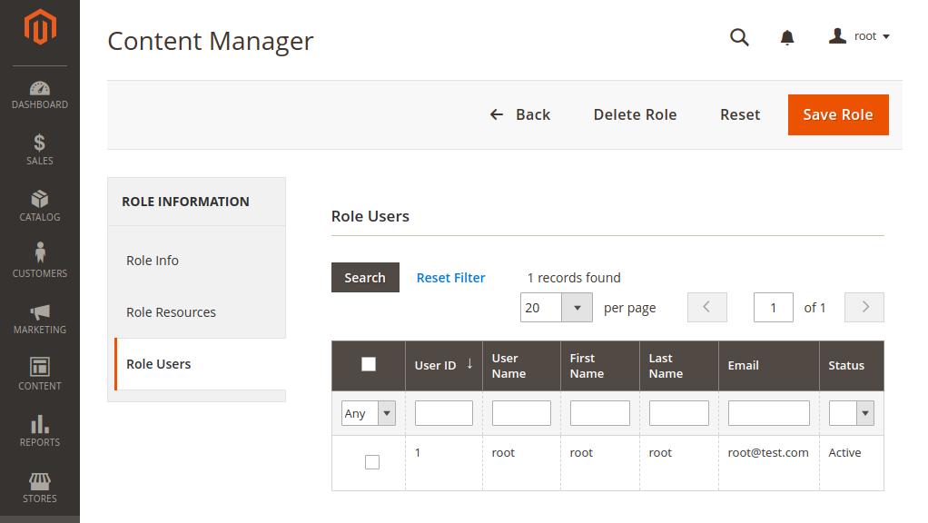 Magento 2 User Roles