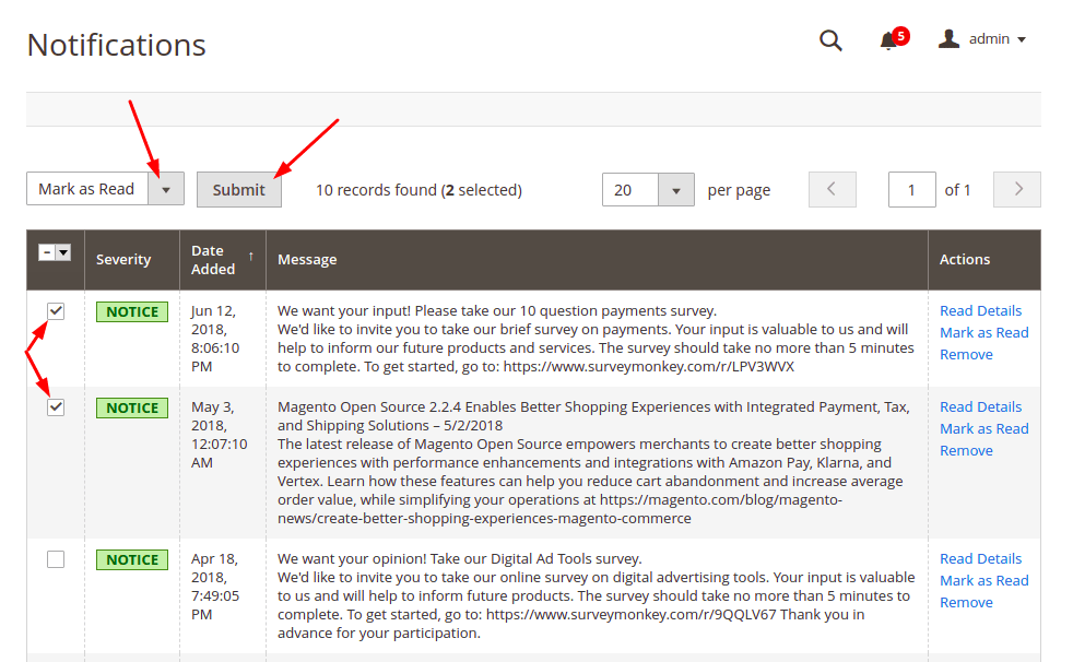 Mark Magento 2 Notification as Read