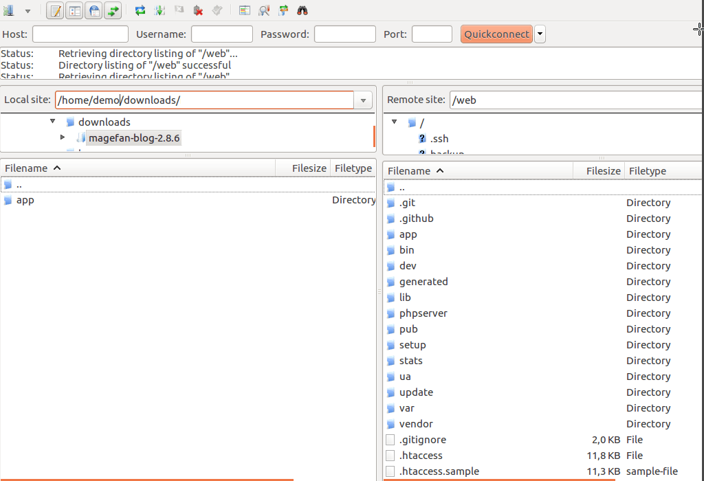 Update Magento 2 extension via FTP