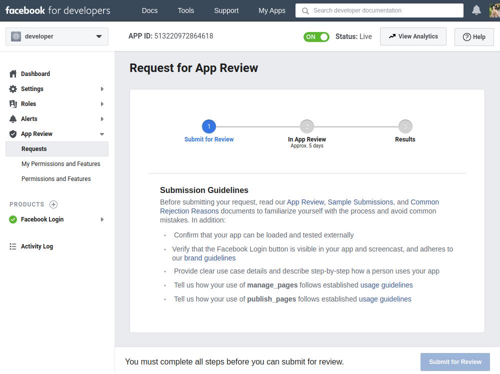 Facebook API Permission Request