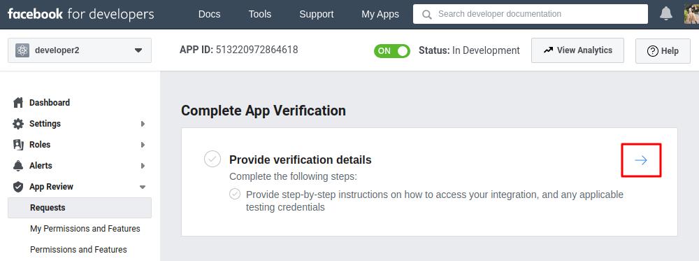 Facebook complete app verification