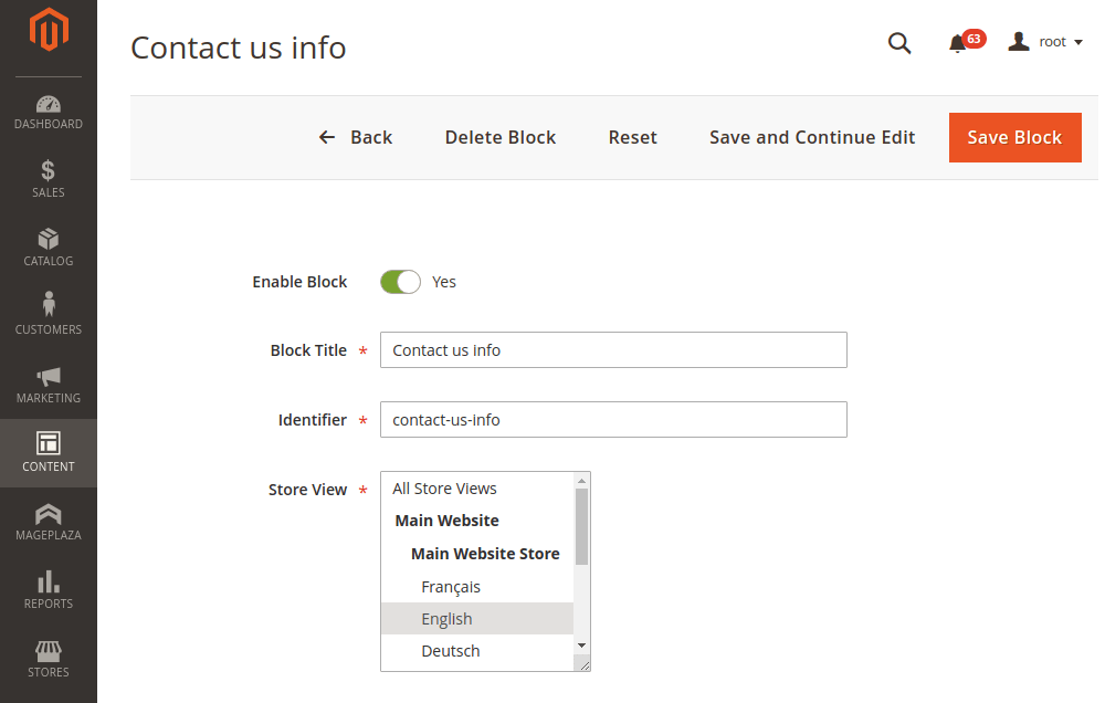 Magento 2 cms block info