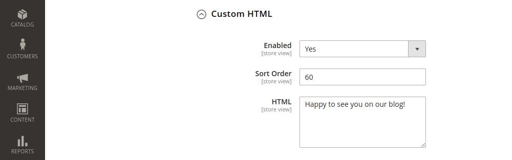 Magento 2 clog custom html configuration