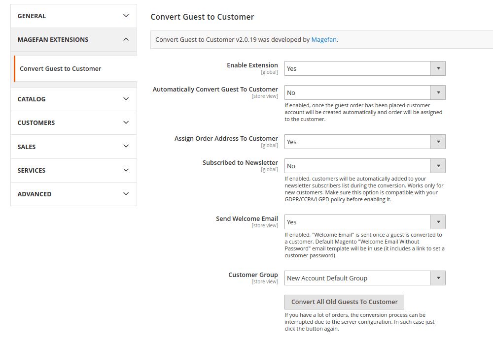 Magento 2 Guest to Customer Extension Geneal Configuration