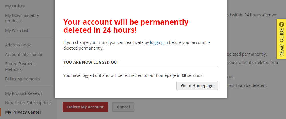Magento 2 GDPR My Privacy Center, Delete My Account