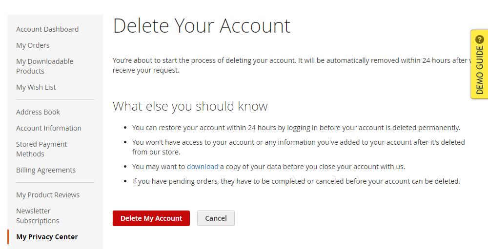 Magento 2 GDPR My Privacy Center, Delete Account